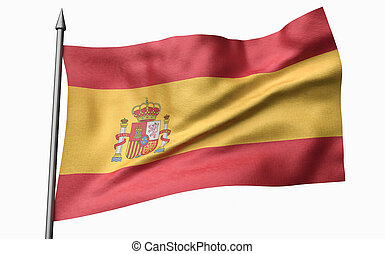 3D Illustration of Flagpole with Spain Flag