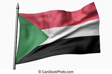 3D Illustration of Flagpole with Sudan Flag