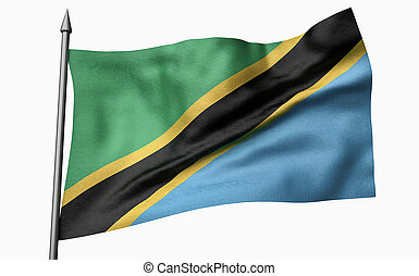 3D Illustration of Flagpole with Tanzania Flag
