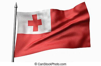 3D Illustration of Flagpole with Tonga Flag
