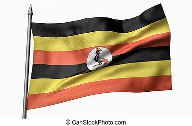 3D Illustration of Flagpole with Uganda Flag