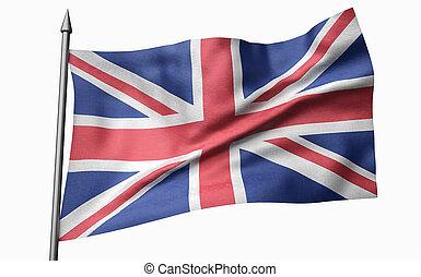 3D Illustration of Flagpole with United Kingdom Flag