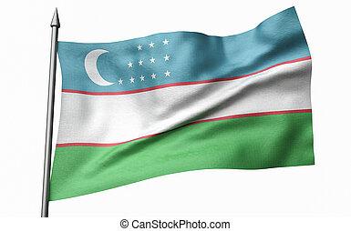 3D Illustration of Flagpole with Uzbekistan Flag