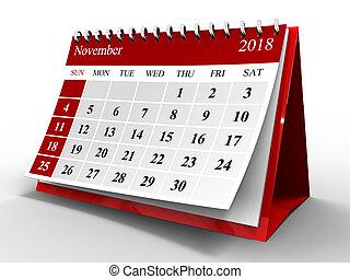 2018 november - 3d illustration of flip page calendar over...