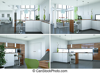 four views of modern kitchen with a beautiful design