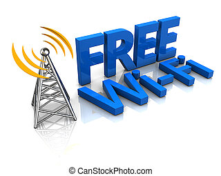 3d illustration of free wi-fi tower