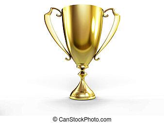 golden trophy - 3D illustration of Front view of a golden...