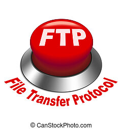 3d illustration of FTP ( File transfer Protocol ) button isolated white background