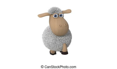 3d illustration of funny white sheep - 3d illustration of...