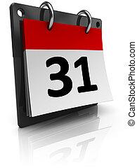 calendar - 3d illustration of generic calendar over white ...