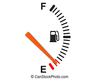 3d illustration of generic fuel gauge, over white background