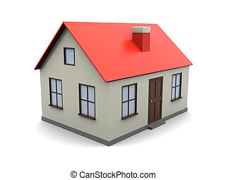 house model - 3d illustration of generic house model over...