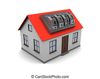 house with combination lock - 3d illustration of generic...