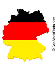 3d Illustration of Germany Map With German Flag Isolated On White