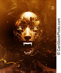 3d illustration of Ghost woman screaming in the woods, Scary background mixed media