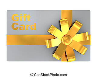 gift card - 3d illustration of gift card, isolated over...