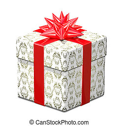 3D Illustration of Gift with Patterned