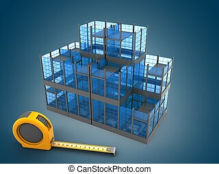 3d illustration of glass building over blue gradient background with ruler