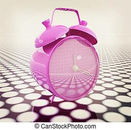3d illustration of glossy alarm clock. Time concept. 3D illustration. Vintage style.