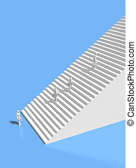 3D illustration of go up the stairs