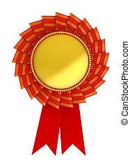 3d illustration of golden award over white background