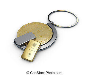 3d illustration of golden bitcoin in a keychain with gold and silver bar, close up