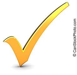 check mark - 3d illustration of golden check mark over white...