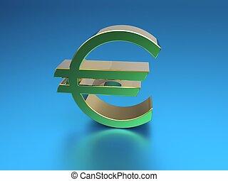 3d illustration of golden euro symbol on blue background