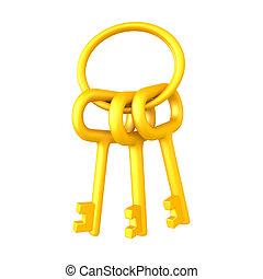 3D illustration of golden keychain with keys
