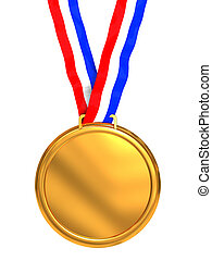 golden medal - 3d illustration of golden medal isolated over...