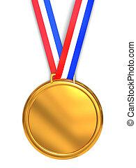 golden medal - 3d illustration of golden medal over white...