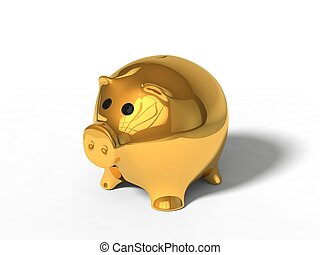 3d illustration of pig money box. isolated on white. golden version.