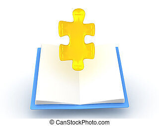 3D illustration of golden puzzle piece rising out of opened ...