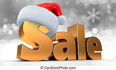 3d illustration of golden sale sign with Christmas hat over snow background