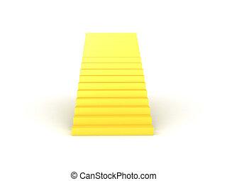3D illustration of golden stairway