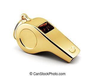 golden whistle - 3d illustration of golden whistle over ...