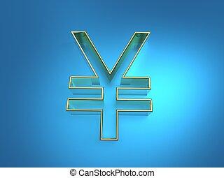 3d illustration of golden yen symbol extrude on blue background