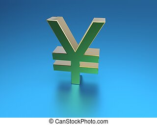 3d illustration of golden yen symbol on blue background