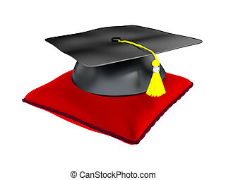 3D Illustration of Graduation Hat On A Cushion - 3D...