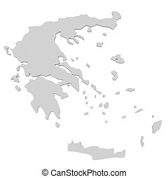 3d Illustration of Greece Map Isolated On White