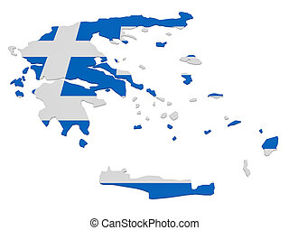 3d Illustration of Greece Map With Greek Flag Isolated On White