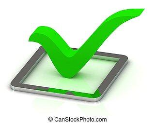 3d illustration of green check mark