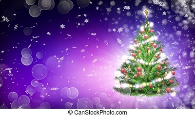 3d illustration of green Christmas tree over purple background with snowflakes and red balls