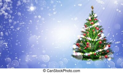 3d illustration of green Christmas tree over blue background with snowflakes and red balls