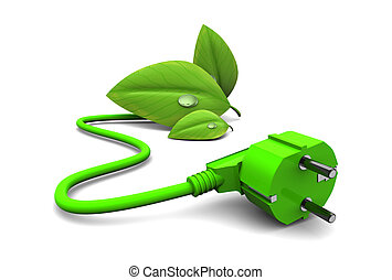 green energy - 3d illustration of green energy concept, over...