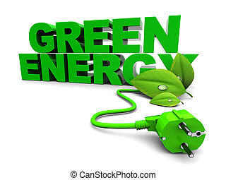 green energy - 3d illustration of green energy sign over...