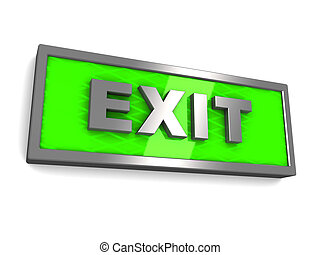 exit sign - 3d illustration of green exit sign over white...