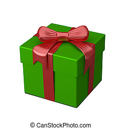 3D Illustration of Green Gift Box with Ribbon