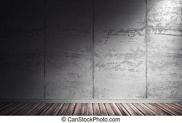 3d illustration of grungy concrete interior.
