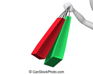 3d illustration of hand holding colorful shopping bags